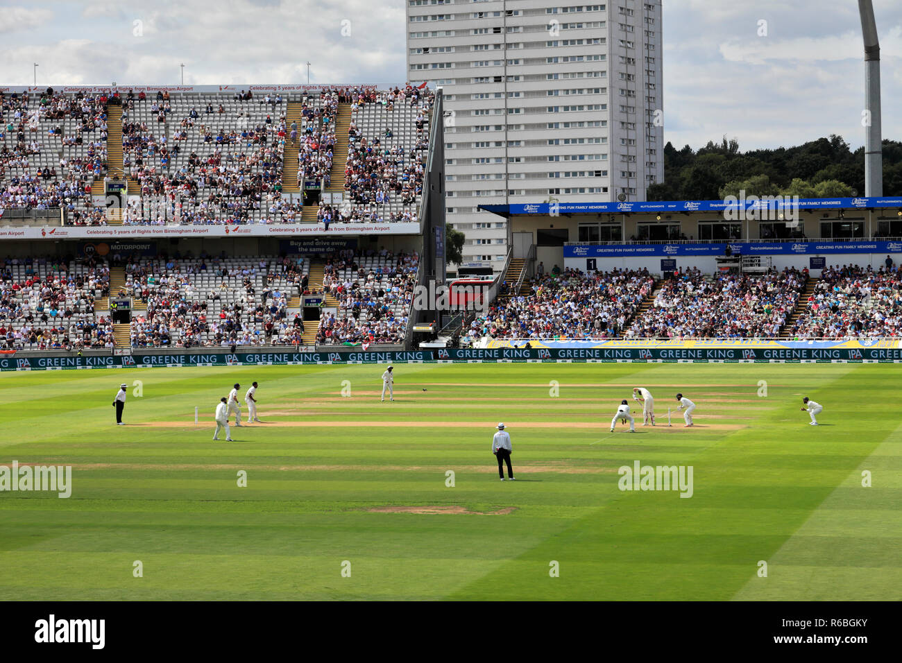 Test match, India verses England cricket teams at Edgbaston, Birmingham, West Midlands, England, UK Stock Photo