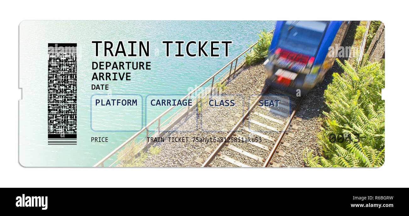 Train ticket - concept image with copy space The contents of the image are totally invented. The background image, with train, is a picture of my prop - Stock Image