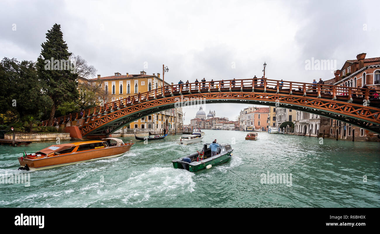 Academia wooden bridge across the Grand Canal in Venice, Italy on 26 November 2018 - Stock Image