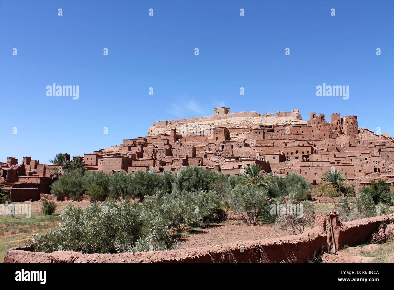Aït-Ben-Haddou Lehmbauten am Salzfluss - Weltkulturerbe - Stock Image