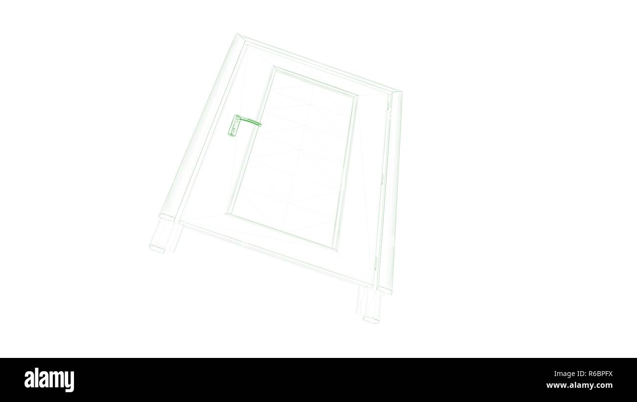 3d rendering of a blueprint door isolated on white Stock Photo