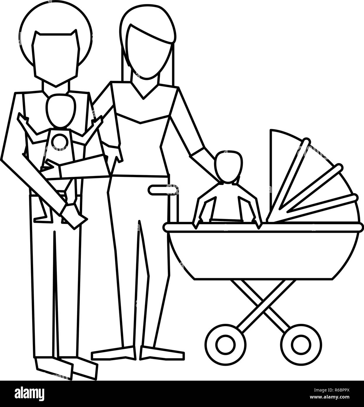 Family avatar concept black and white - Stock Vector