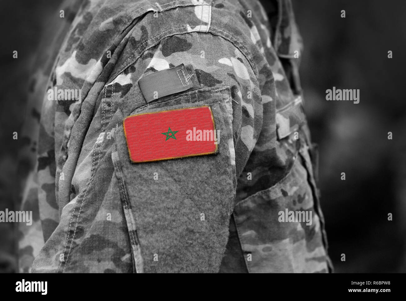 Flag of Morocco on soldiers arm. Morocco flag on military uniform. Army, troops, Africa (collage). - Stock Image