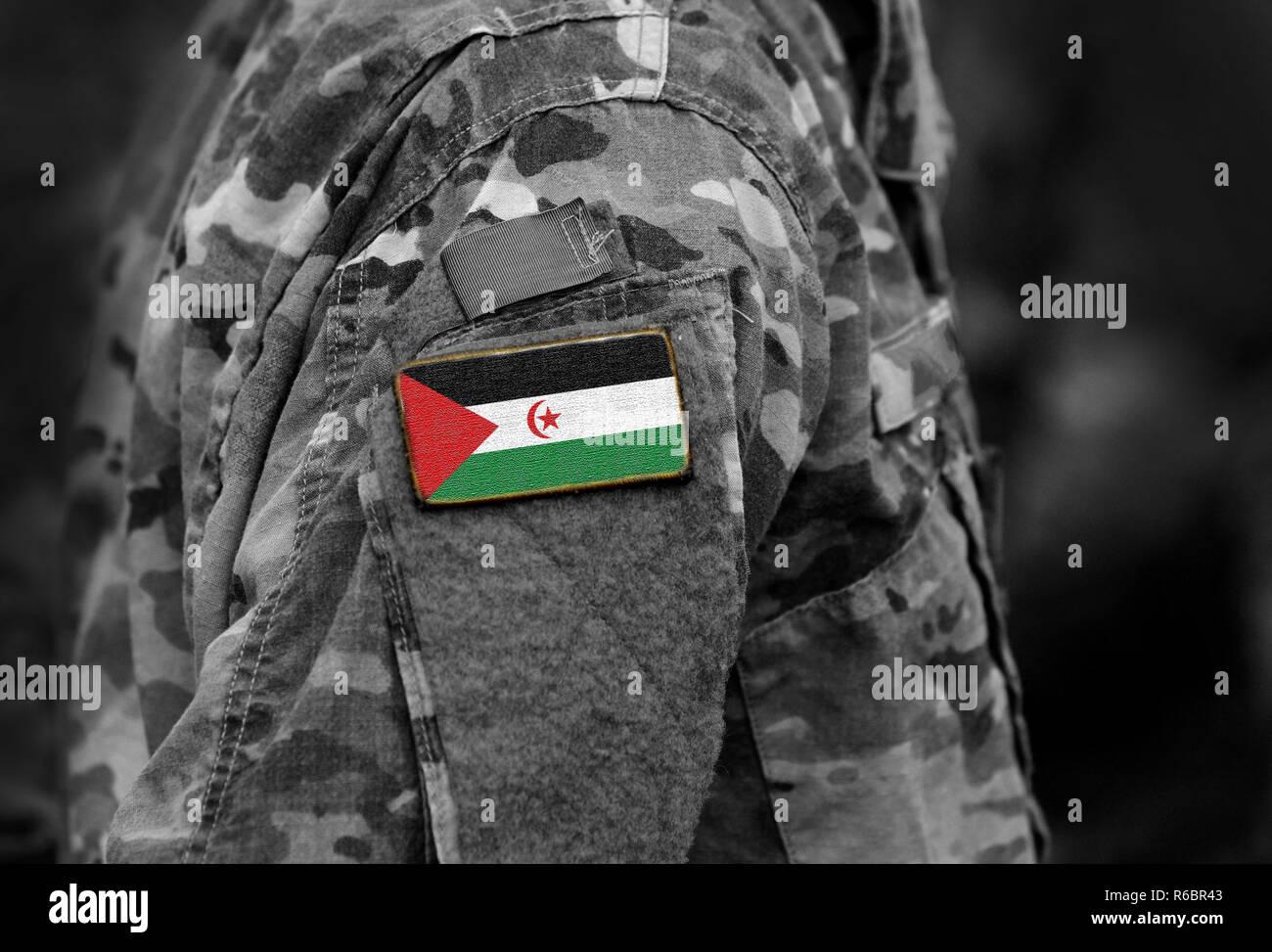 Sahrawi Arab Democratic Republic flag on soldiers arm. Sahrawi Arab Democratic Republic flag on military uniform. Army, troops, Africa (collage). - Stock Image