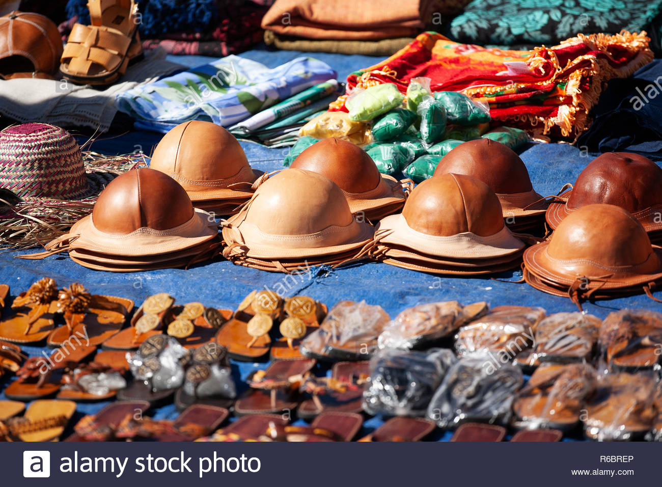 224ba4aedb6 Traditional leather hats from the northeast of Brazil for sale at the farmers  market