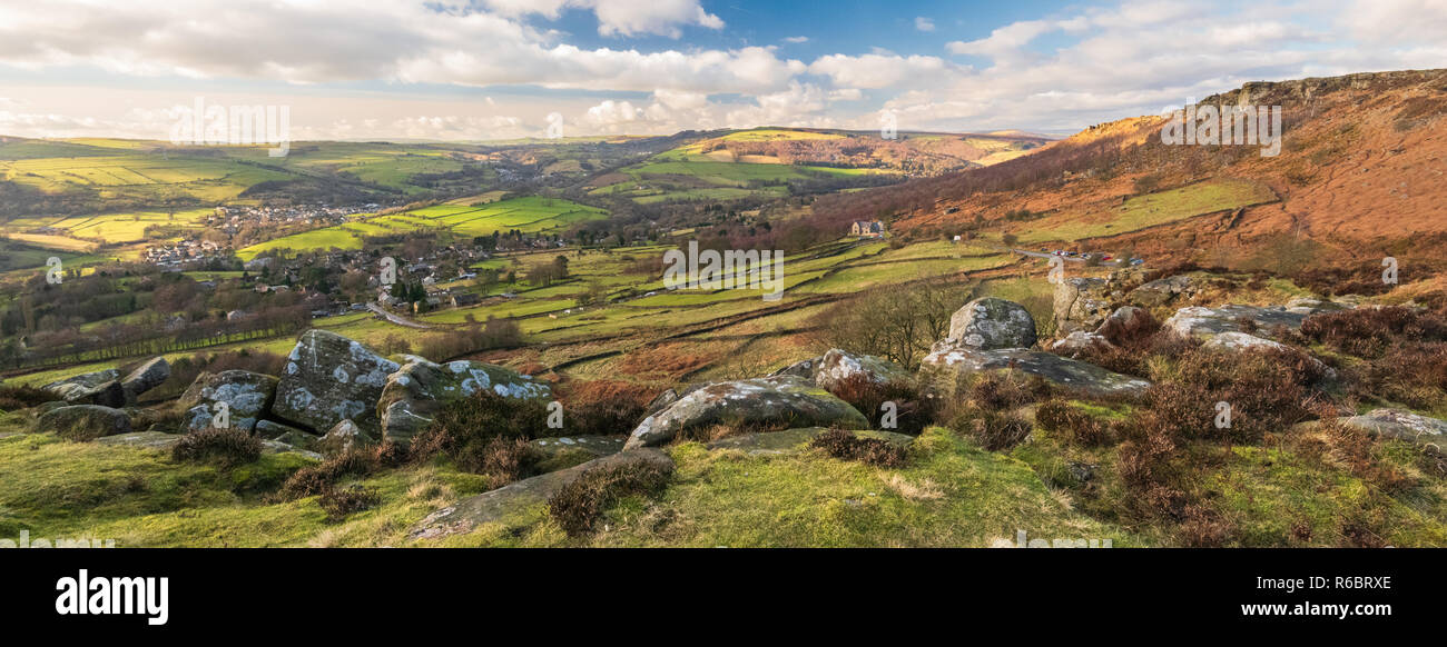 This is Curbar village viewed from the top of Curbar Edge in the Peak District National Park. - Stock Image