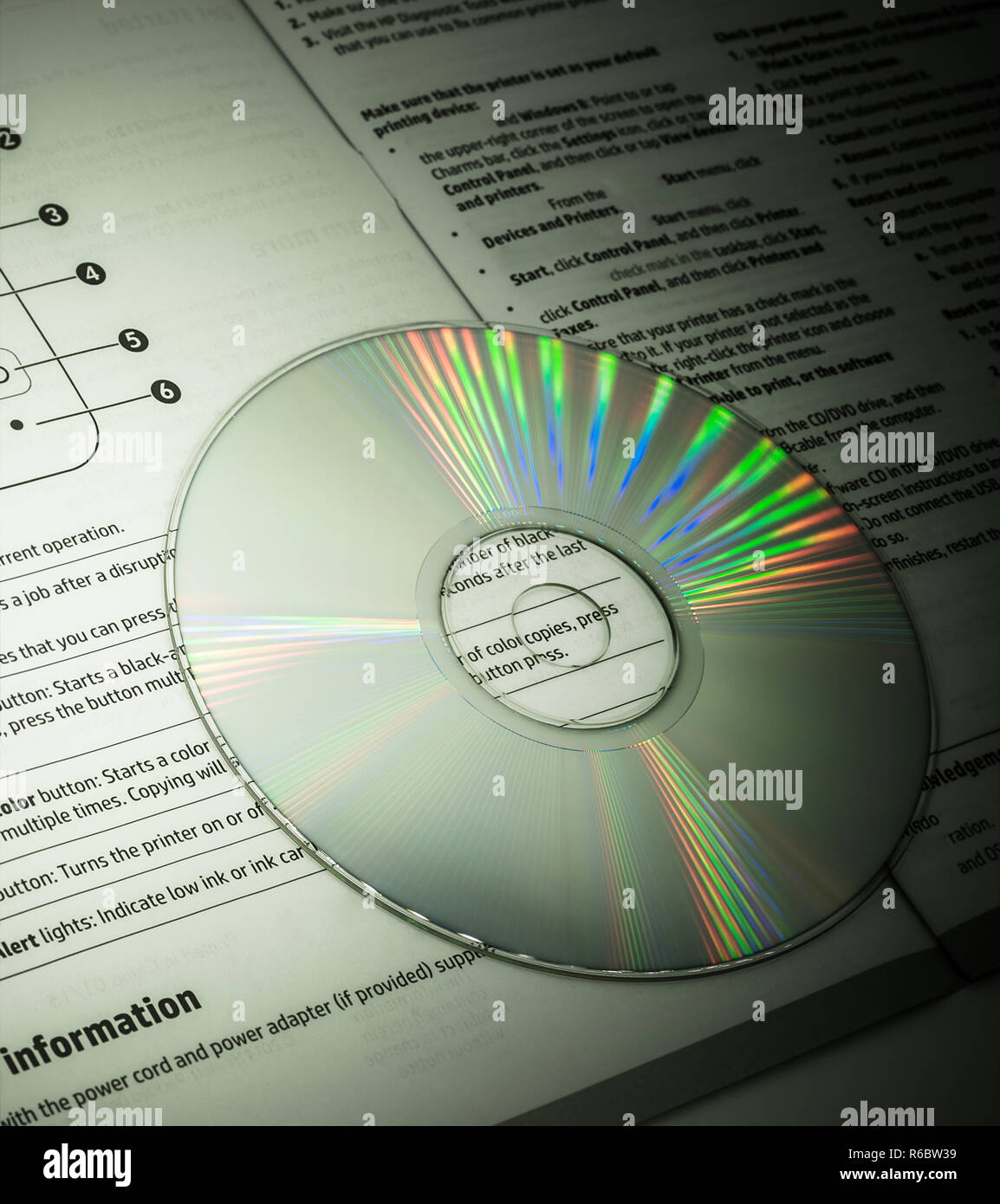 cd with its paper instruction - Stock Image