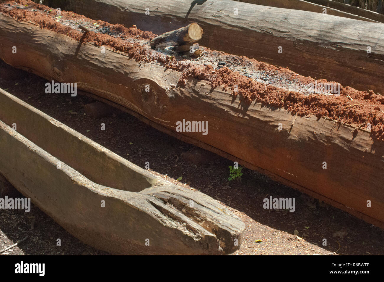 Dugout canoe construction using fire to trench a log, Qualla Cherokee Reservation, North Carolina. Digital photograph - Stock Image