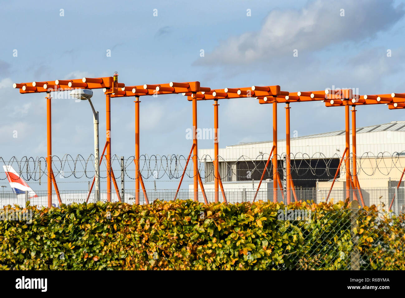 LONDON, ENGLAND - NOVEMBER 2018: Antennae for the instrument landing system (ILS) at London Heathrow Airport. - Stock Image