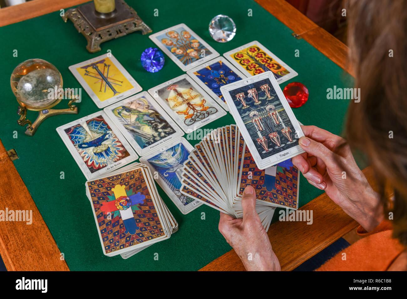 Tarot maps, tarot play, Tarotkarten, Tarotspiel Stock Photo