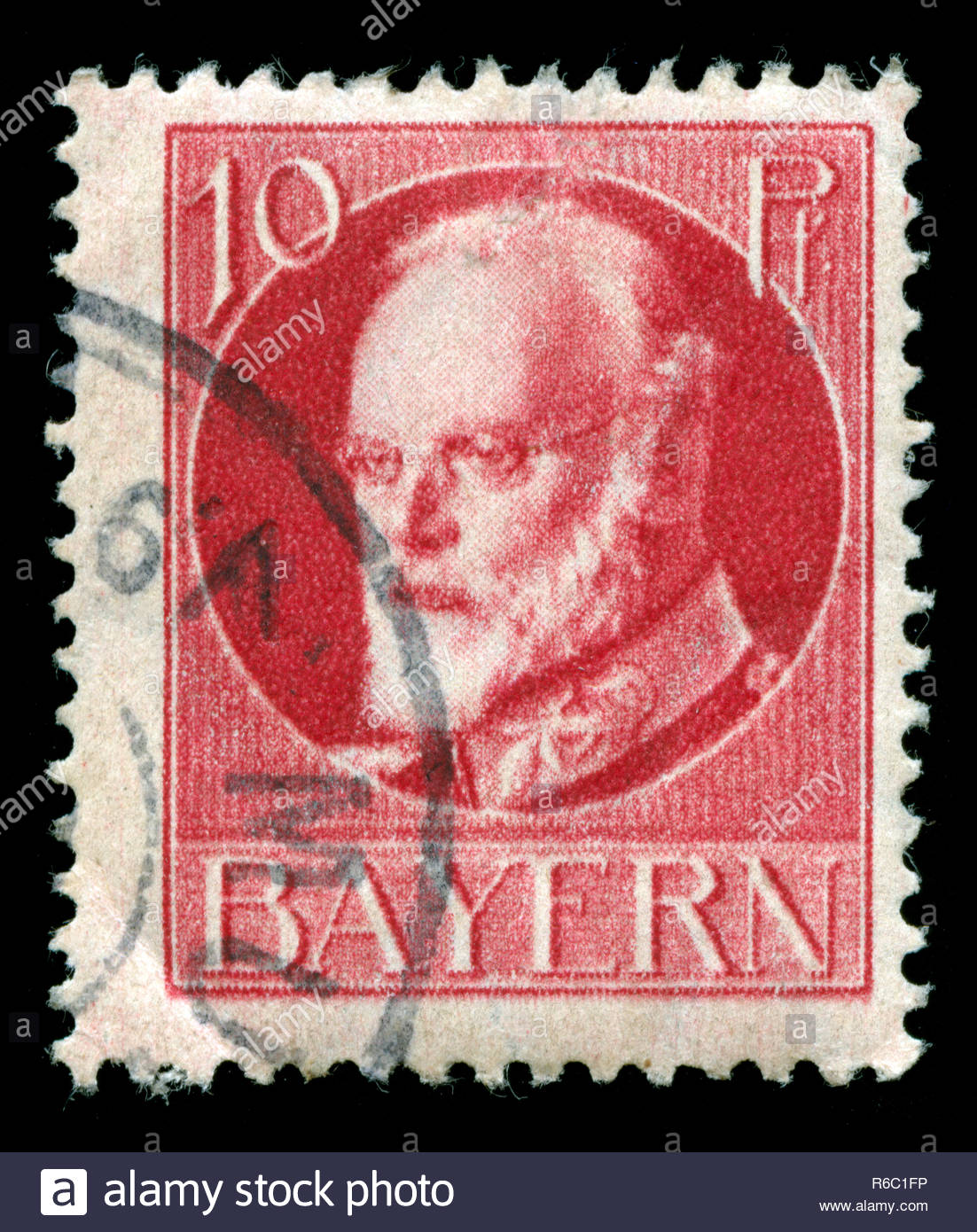 Postage stamp from the Kingdom of Bavaria in the Bavaria series - Stock Image