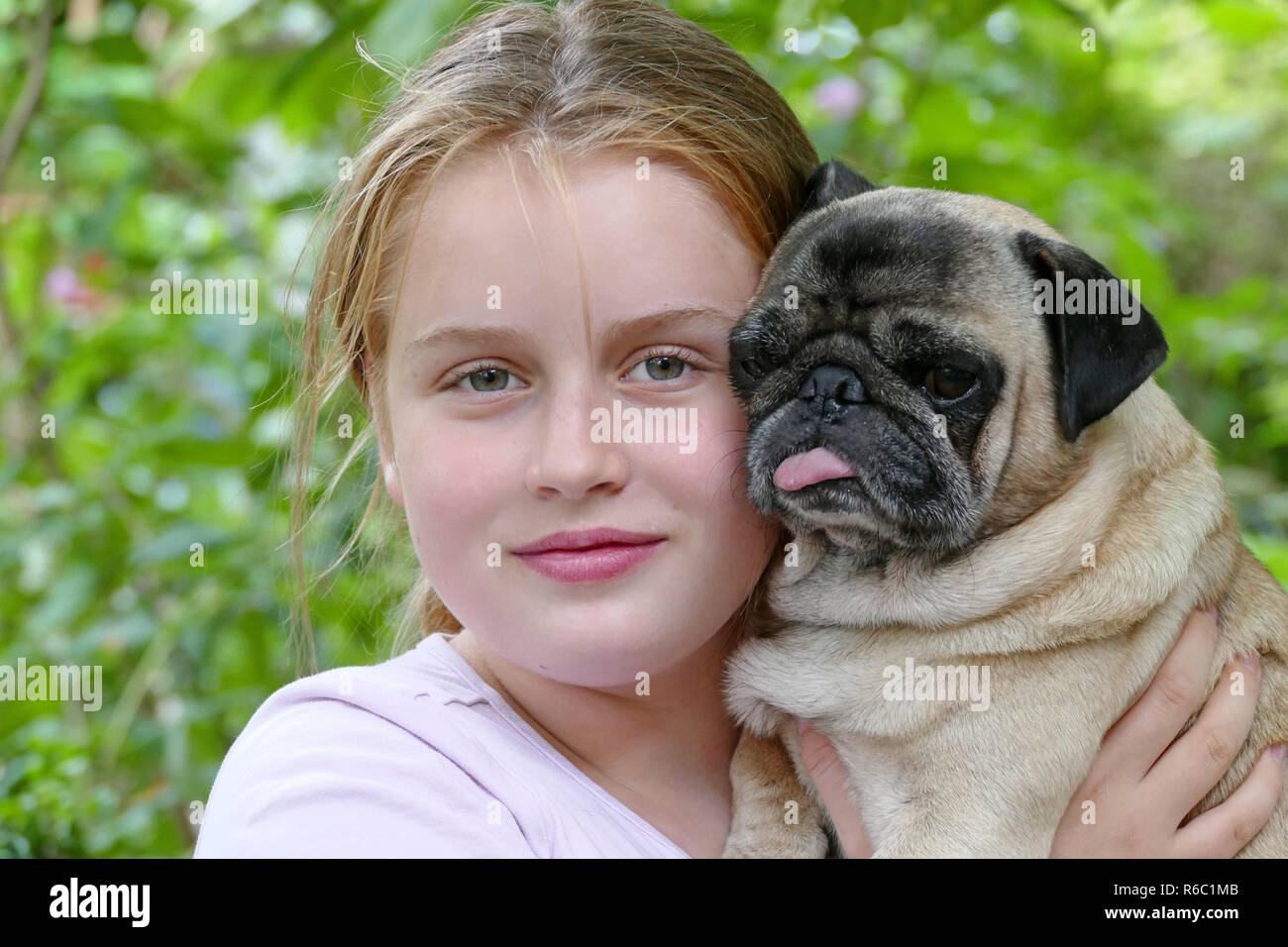 Two Friends, Girl And Her Beige Pug - Stock Image