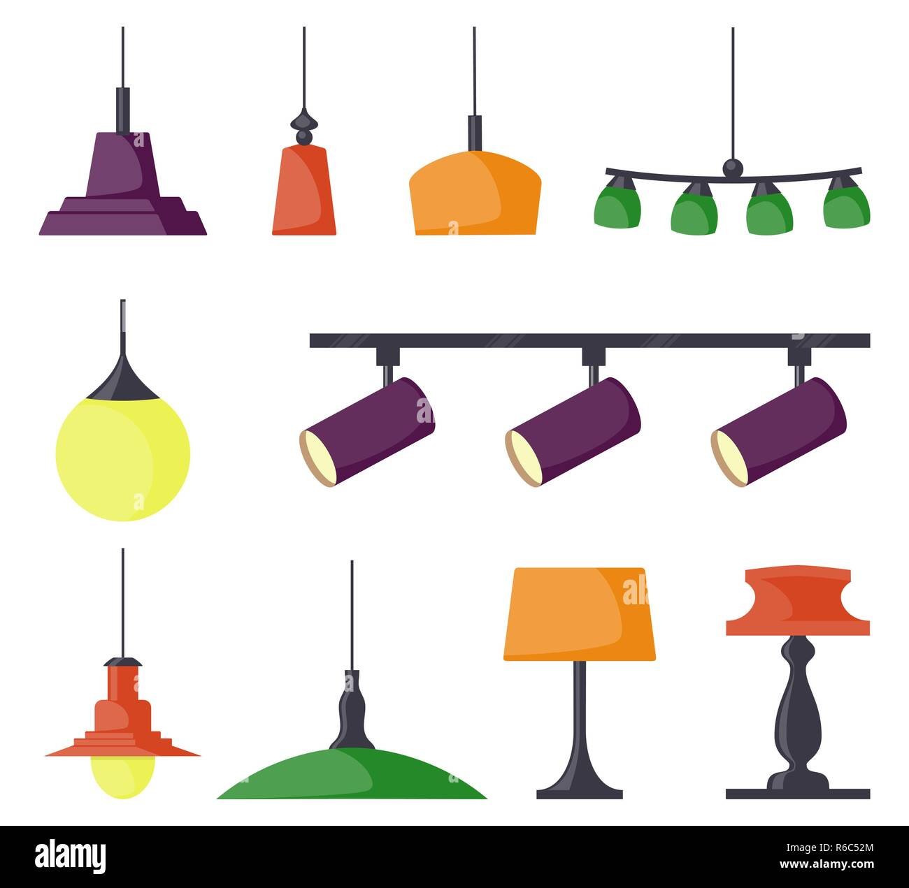 Lamps of different types set chandeliers lamps bulbs table lamp spotlight elements of modern interior vector illustration in flat style