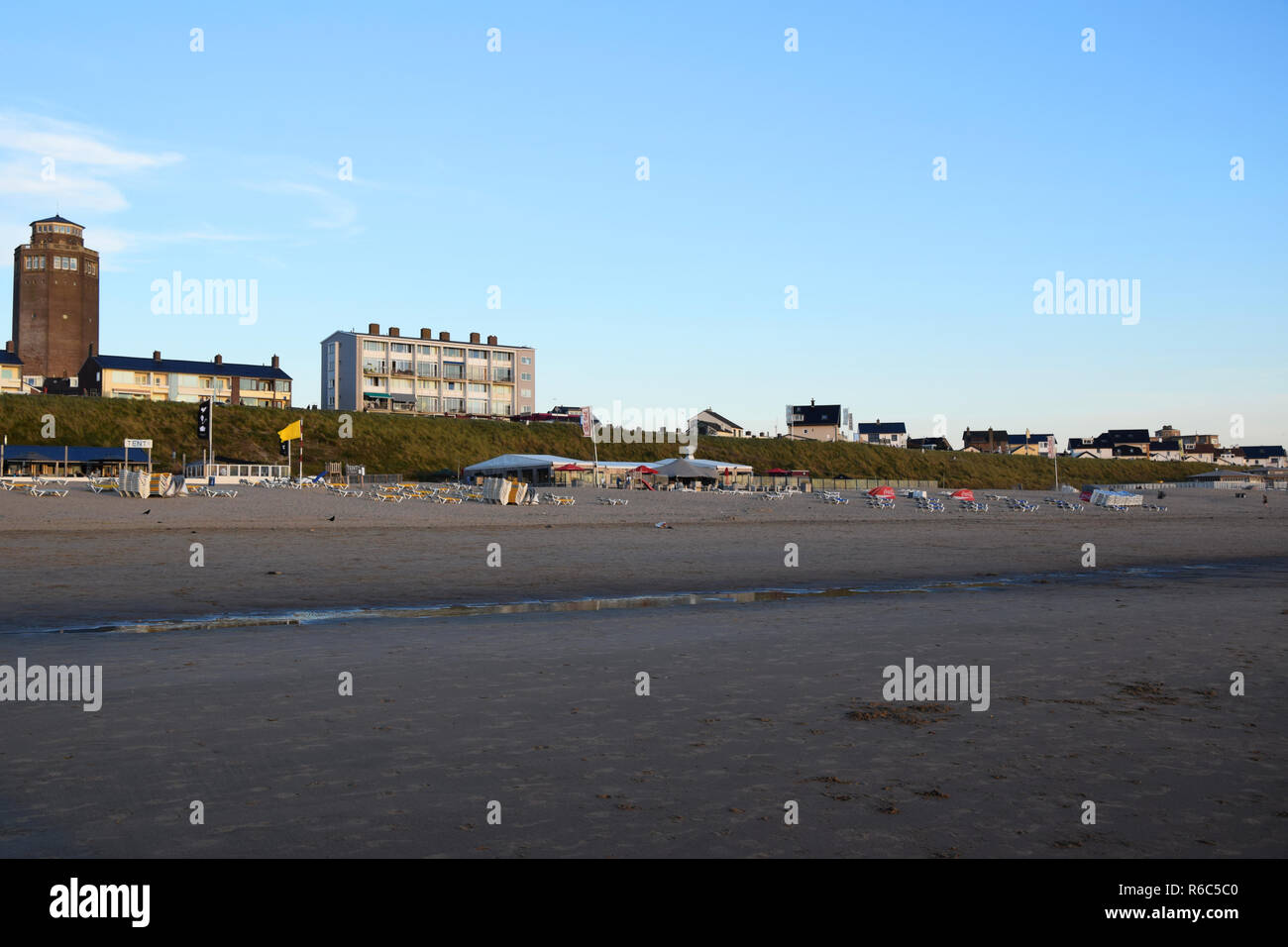 View at sunset on the beachfront in Zandvoort Aan Zee, Holland, the Netherlands - Stock Image
