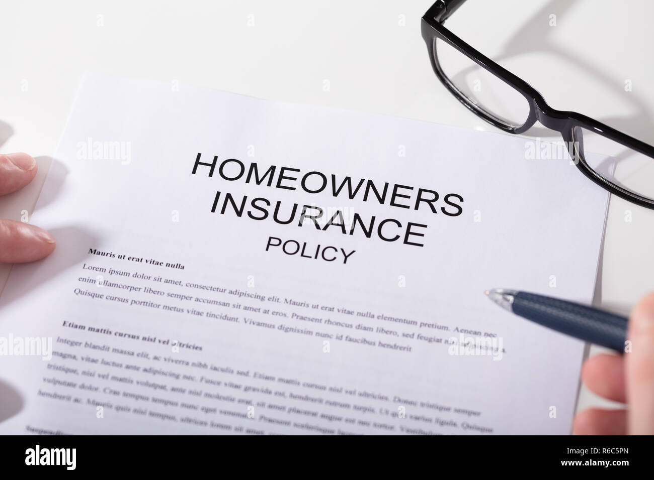 Close-up Of Homeowners Insurance Policy Form - Stock Image