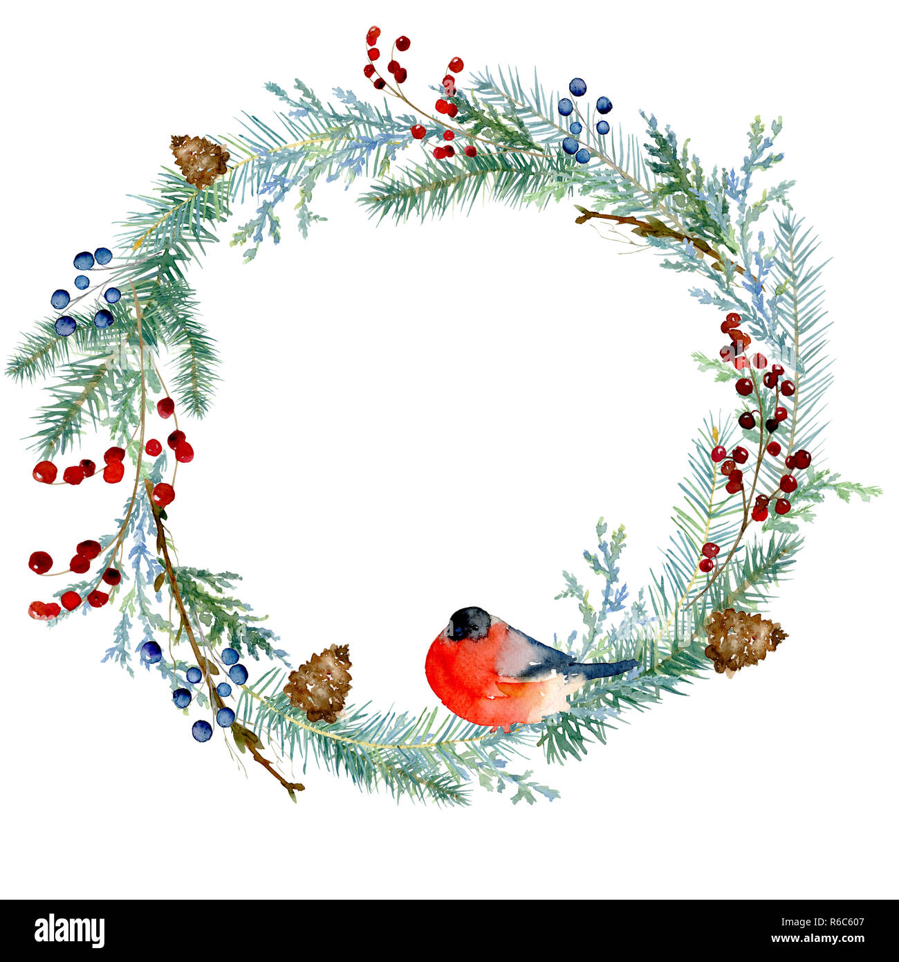 45fefa9d183ee Watercolor winter painting vintage round frame with branches of ...