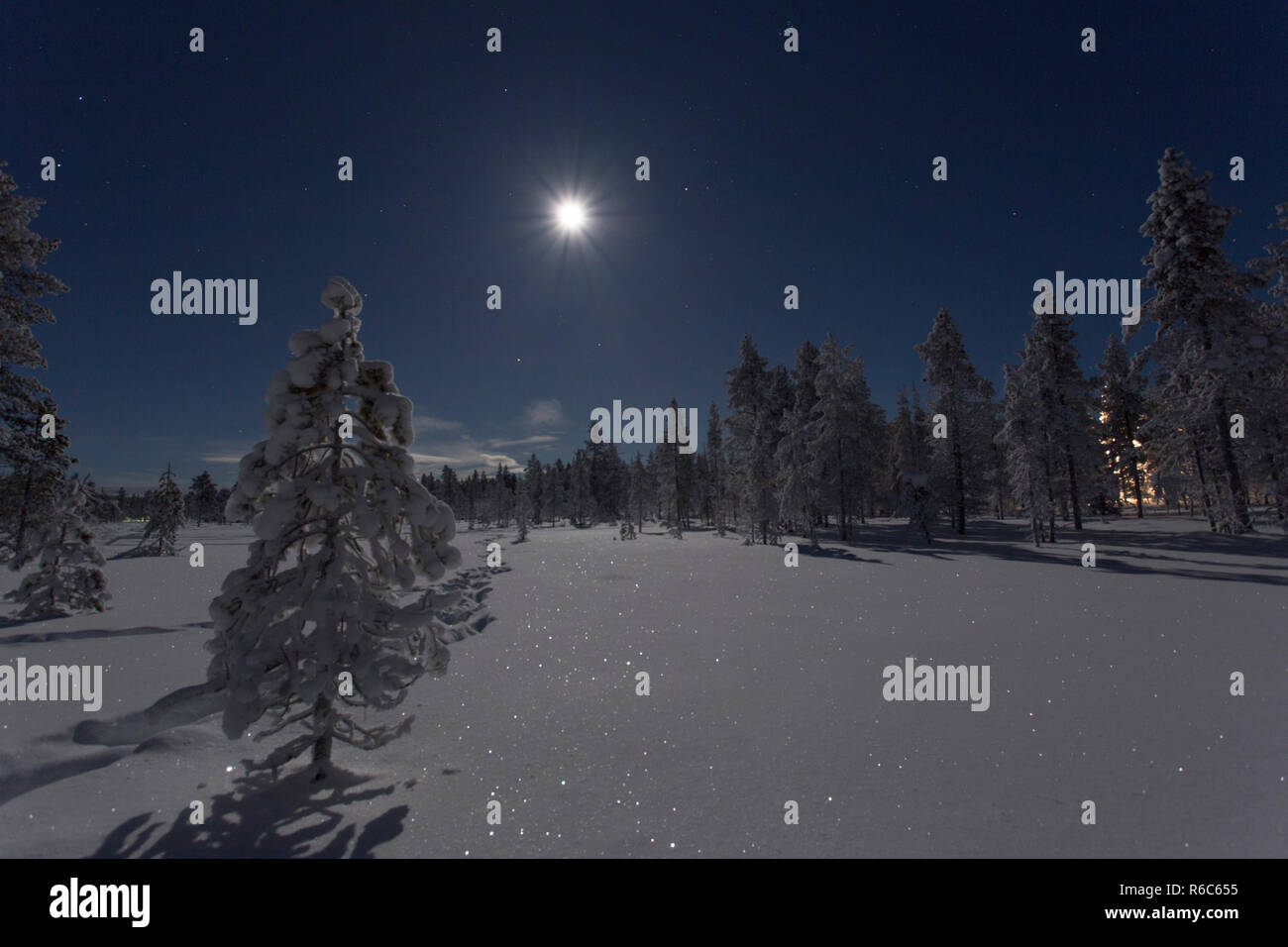 Full moon and frozen landscape - Stock Image