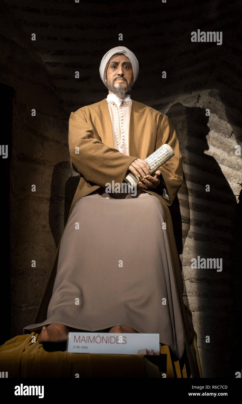 Cordoba, Spain - 2018, Sept 8th: Life-sized sculpture of Maimonides, medieval Sephardic Jewish philosopher. Calahorra Tower Museum, Córdoba, Spain - Stock Image
