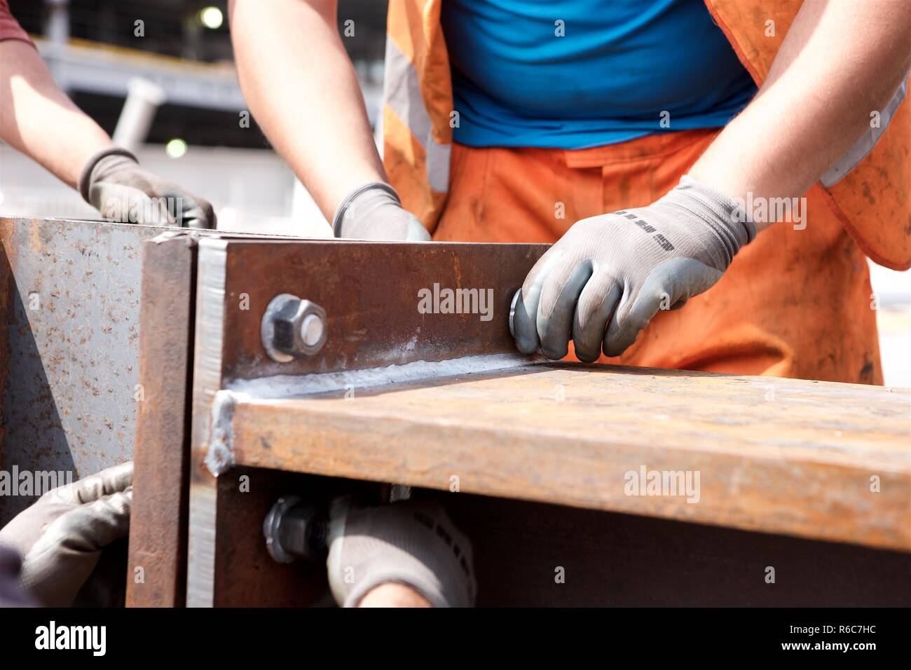 bolting steel girders together Stock Photo
