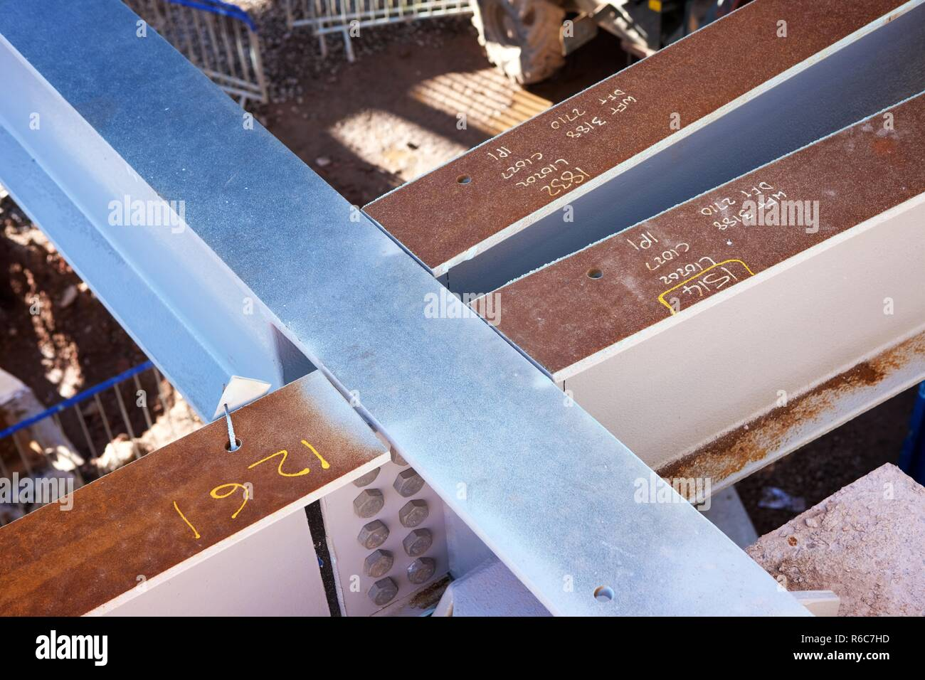 steelwork on construction site - Stock Image