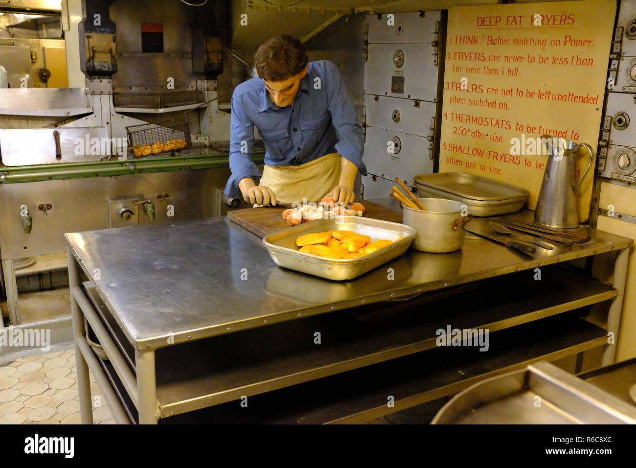 Kitchens on HMS Belfast - London UK - Stock Image