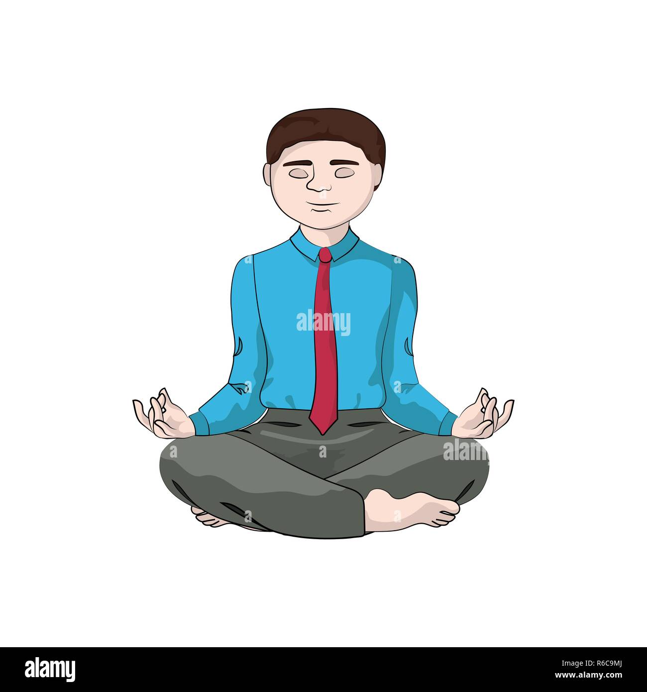 Businessman (man, boy) sits in a yoga pose. Vector - Stock Vector