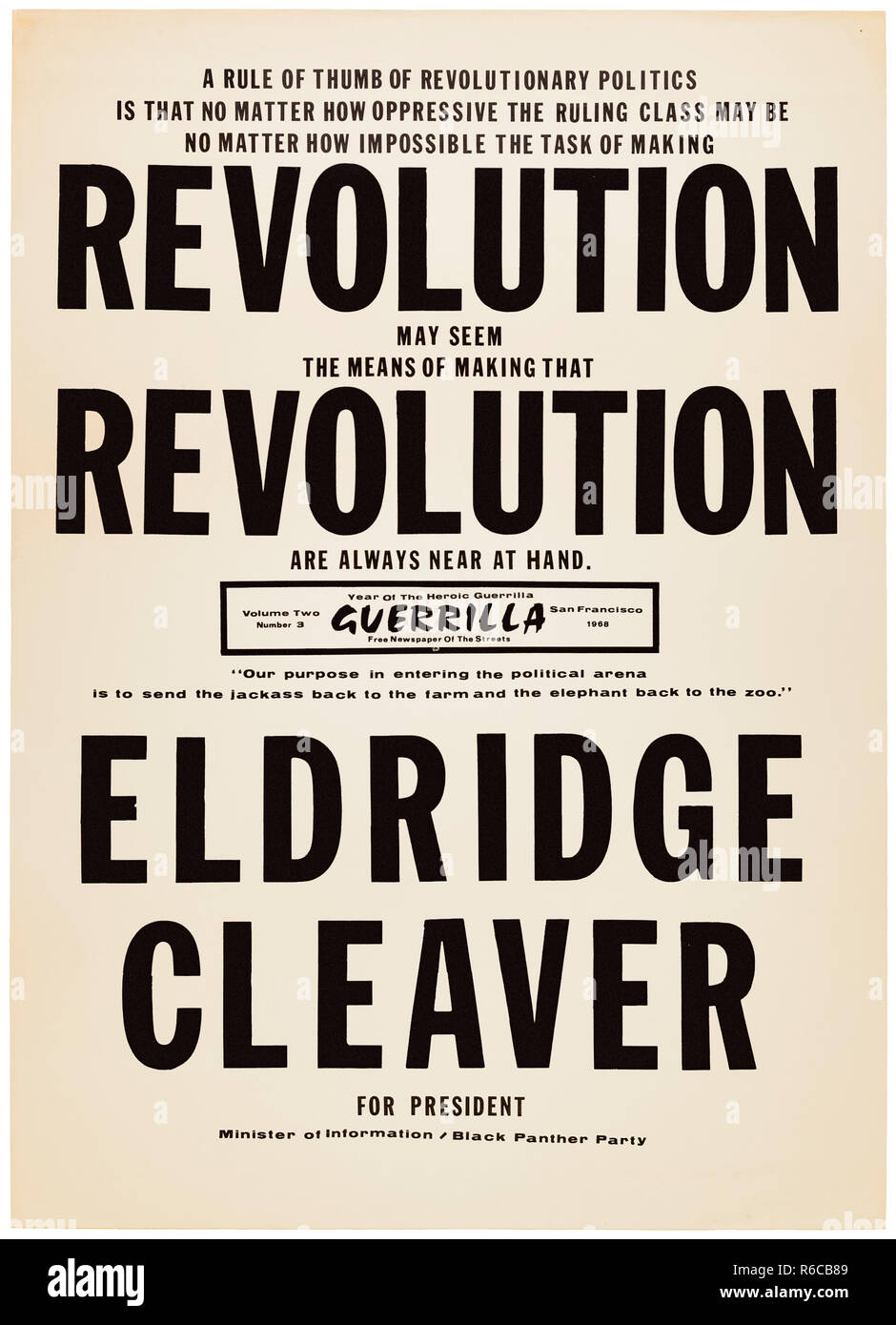 'Revolution Revolution Eldridge Cleaver for President' 1968 presidential campaign poster as candidate for the Black Panther Party. See more information below. Stock Photo