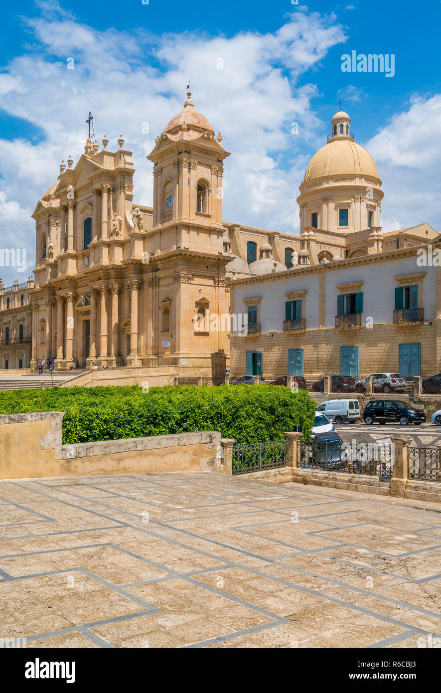 The famous Cathedral of Noto (Basilica Minore of San Nicolò) on a sunny summer day. Province of Siracusa, Sicily, Italy. Stock Photo