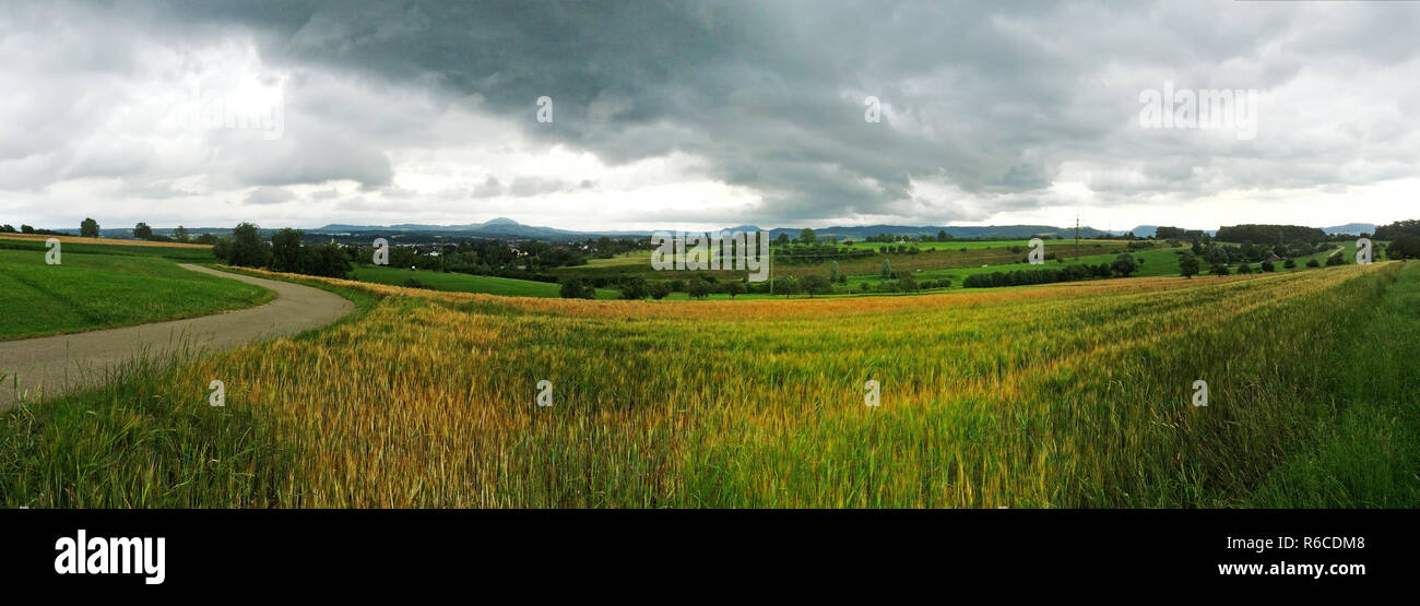 Panoramic View To The Swabian Highlands In Germany - Stock Image