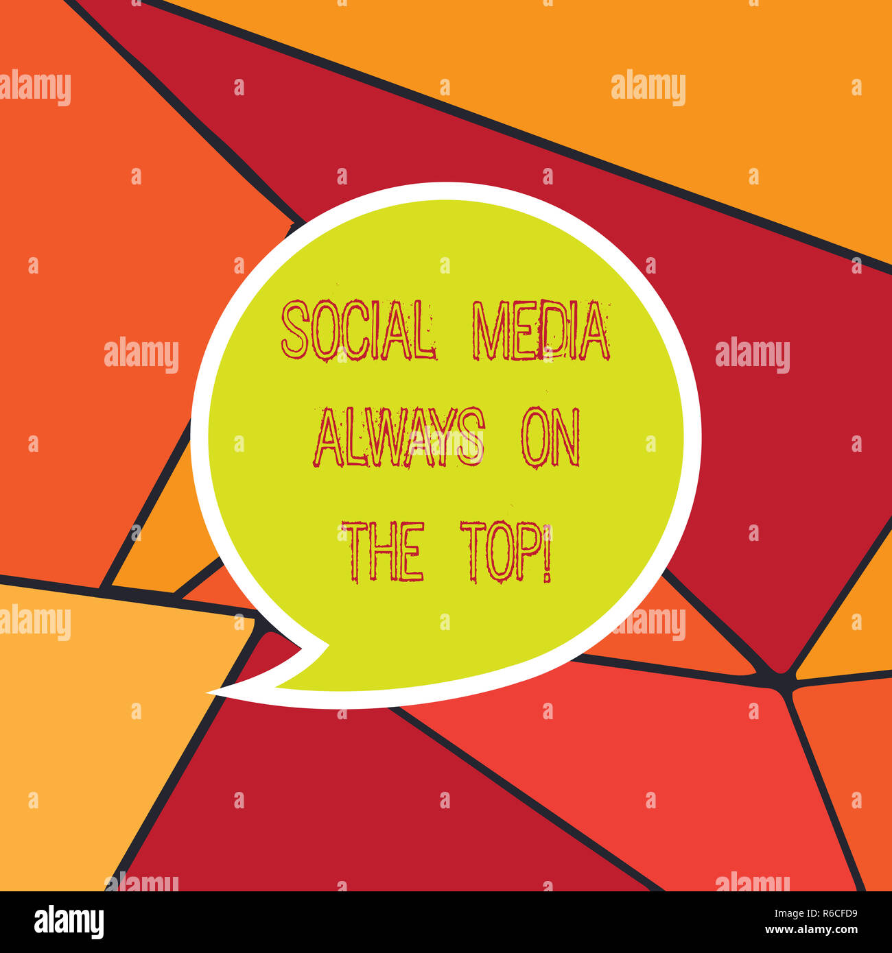 Handwriting text Social Media Always On The Top. Concept meaning New digital communication technologies Blank Speech Bubble Sticker with Border Empty  - Stock Image