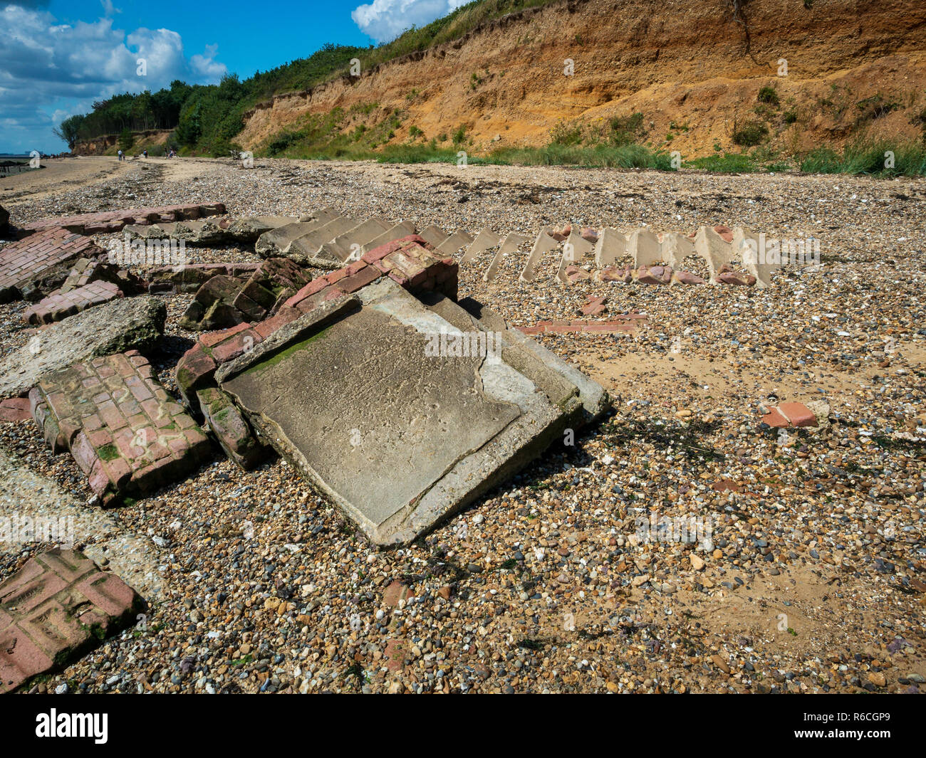 World War 2 fortifications destroyed by erosion Mersea Island Essex - Stock Image