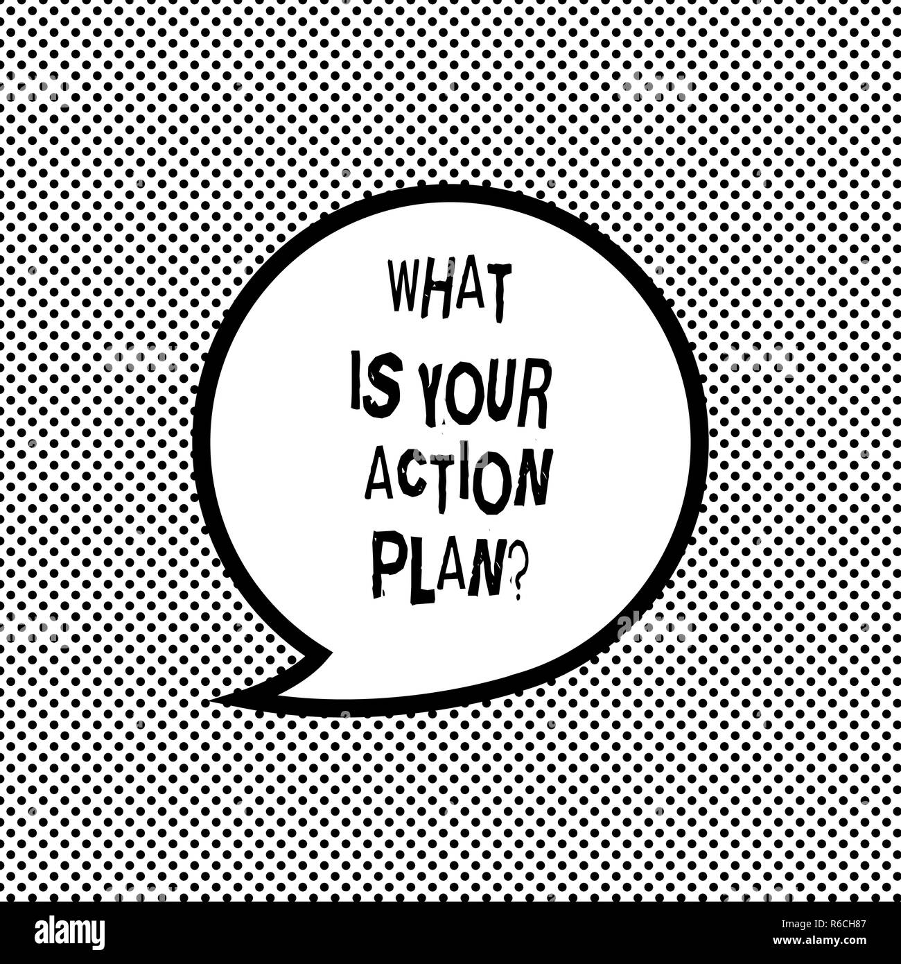 Handwriting text writing What Is Your Action Planquestion. Concept meaning Explain your steps for reach your goal Blank Speech Bubble Sticker with Bor - Stock Image
