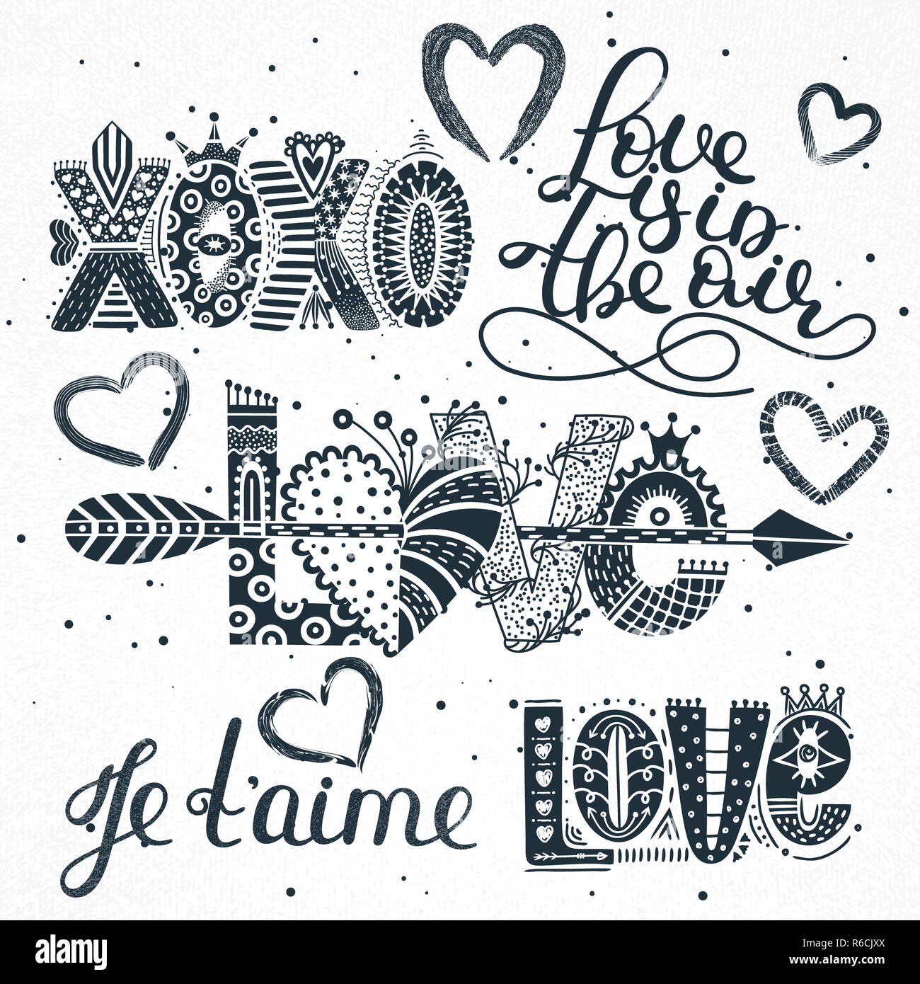 Set Of Love Quotes Hand Drawn Lettering Happy Valentine S Day
