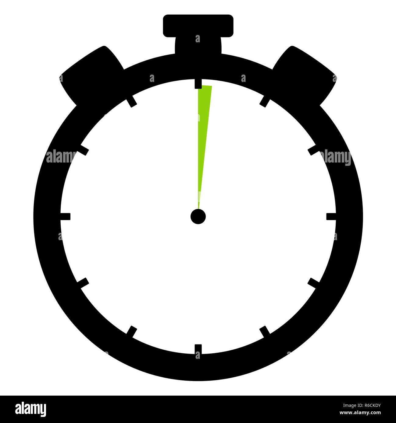 stopwatch icon: 1 minute or 1 second - Stock Image