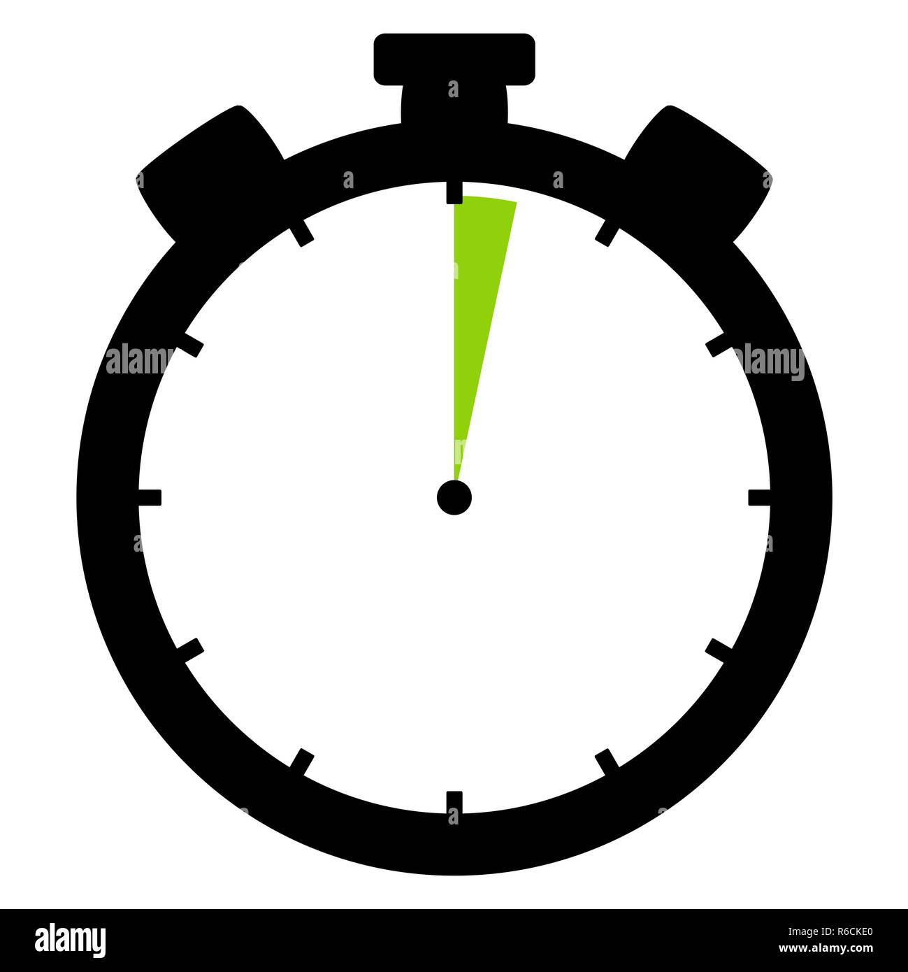 stopwatch icon: 2 minutes or 2 seconds - Stock Image