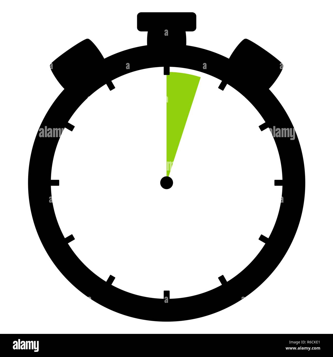 stopwatch icon: 3 minutes or 3 seconds - Stock Image
