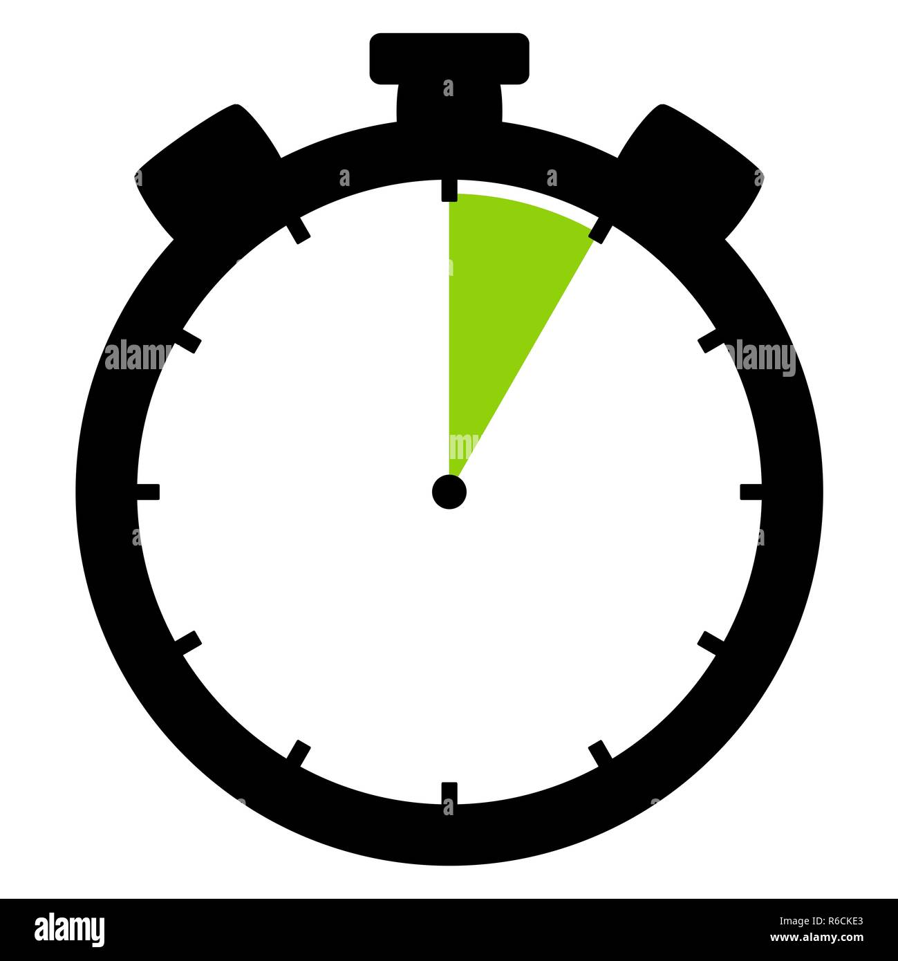stopwatch icon: 5 minutes 5 seconds or 1 hour - Stock Image