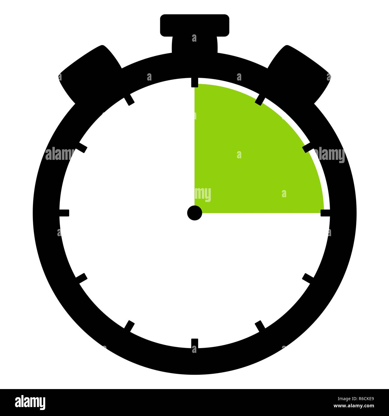 stopwatch icon: 15 minutes 15 seconds or 3 hours - Stock Image