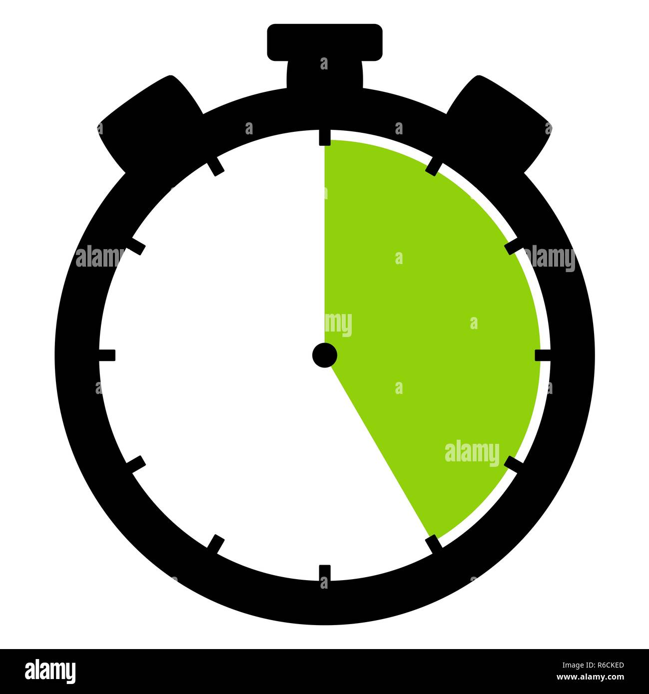 stopwatch icon: 25 minutes 25 seconds or 5 hours - Stock Image
