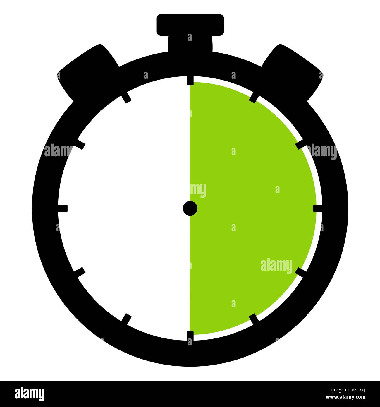 stopwatch icon: 30 minutes 30 seconds or 6 hours - Stock Image