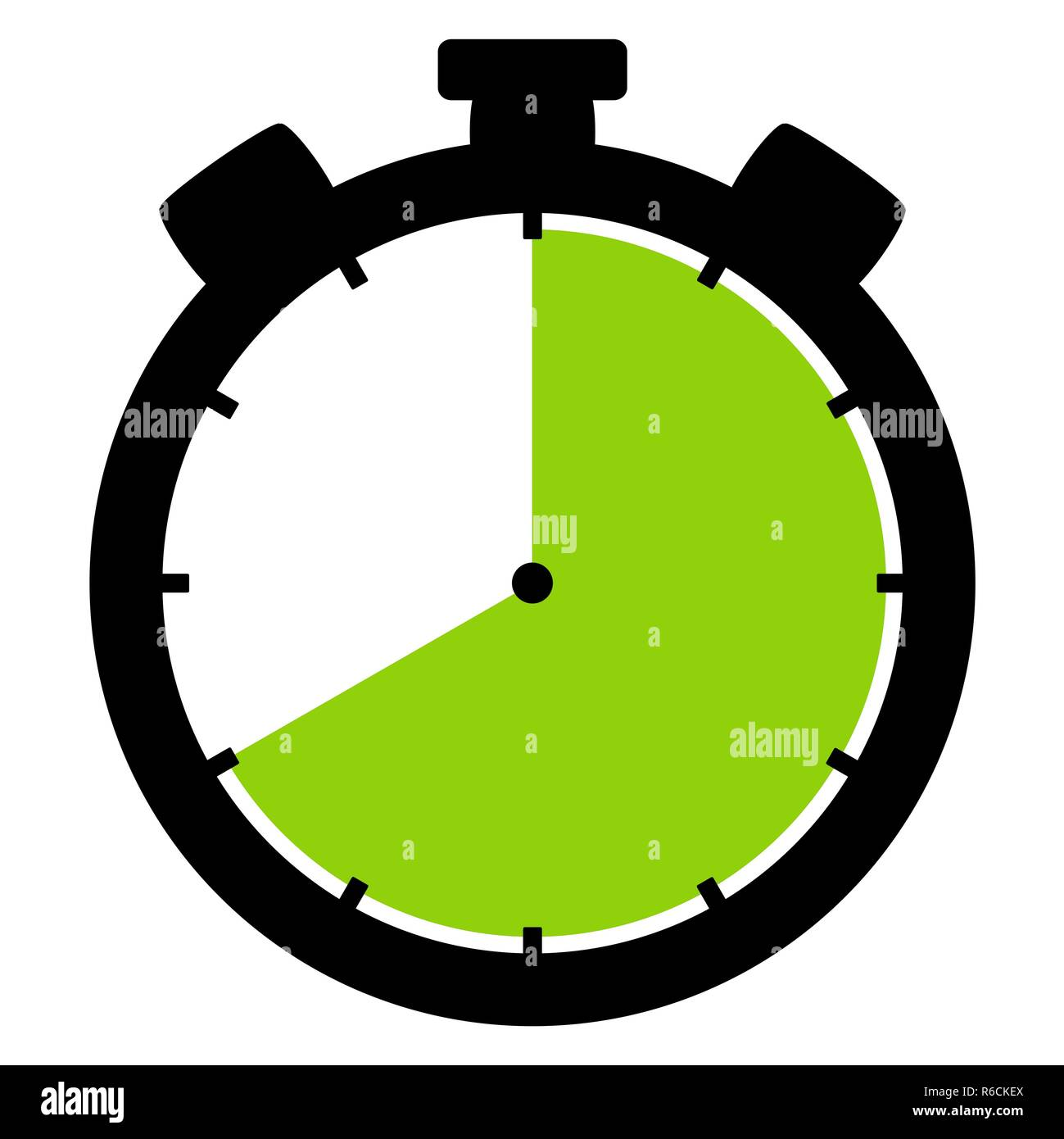 stopwatch icon: 40 minutes 40 seconds or 8 hours - Stock Image