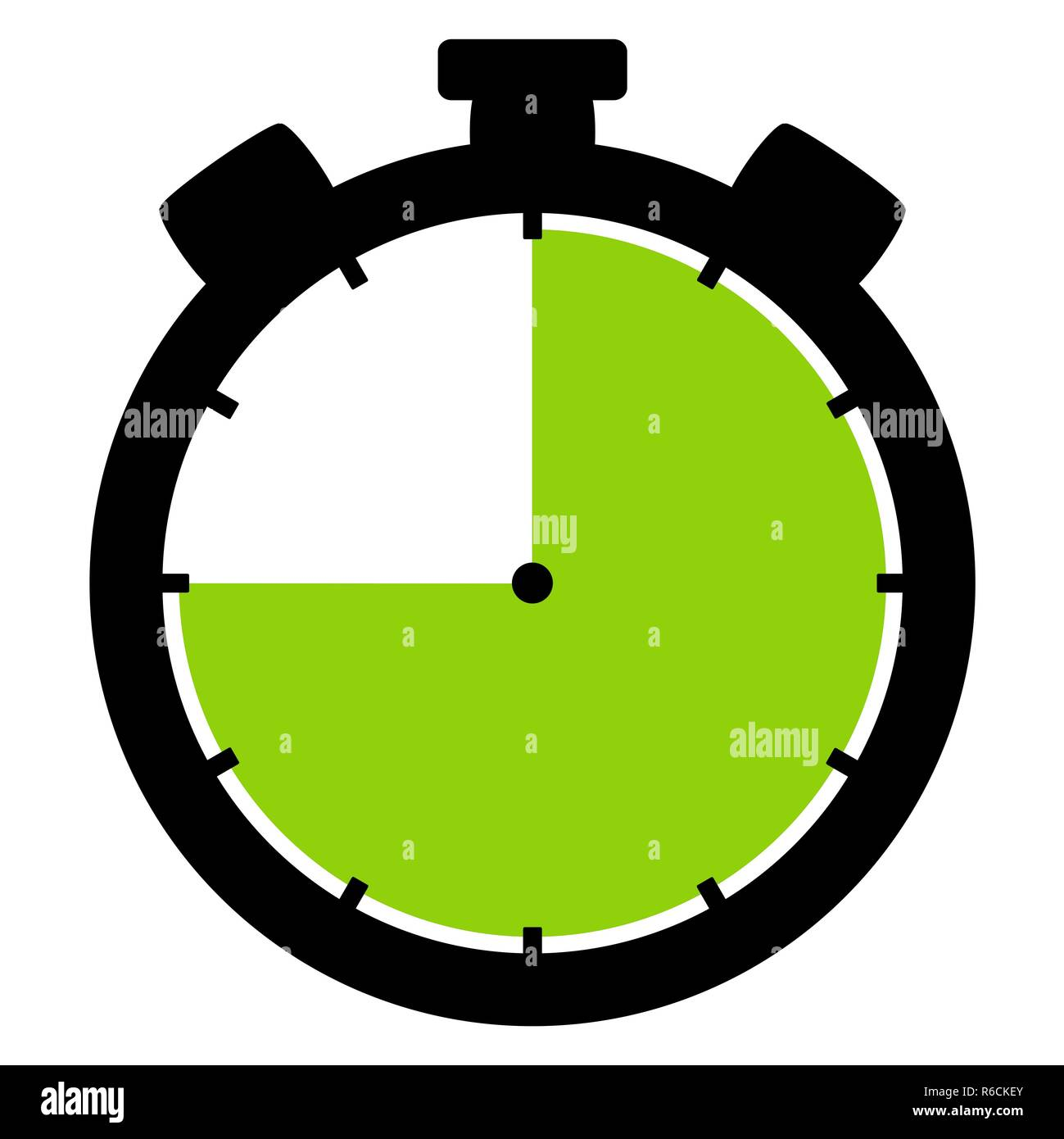 stopwatch icon: 45 minutes 45 seconds or 9 hours - Stock Image