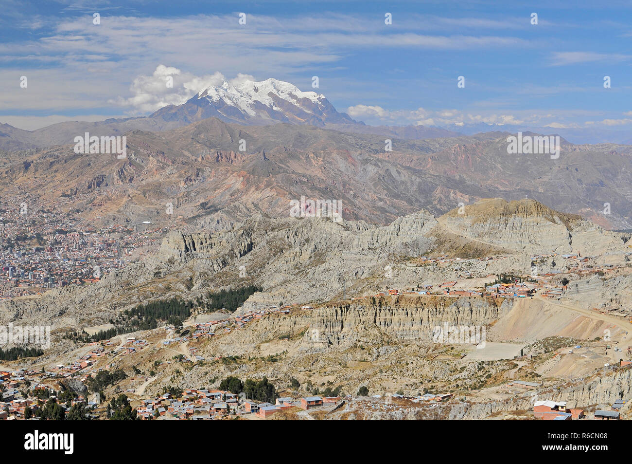 Bolivia, View Of Cordillera Real From La Paz - Stock Image