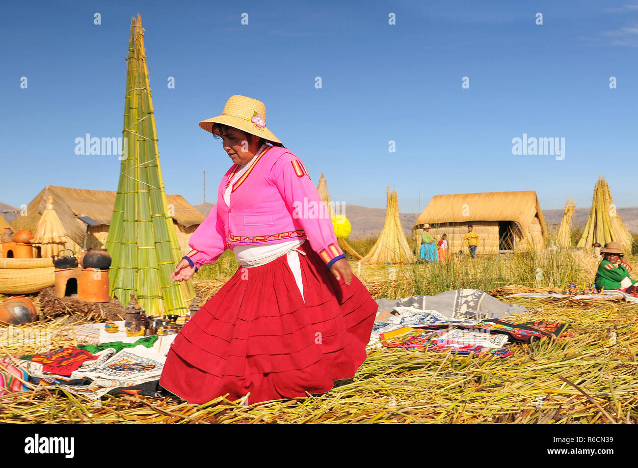 Peru, South America, Titicaca Lake, Uros Indian, Uros Ayamaras, Floating Island - Stock Image