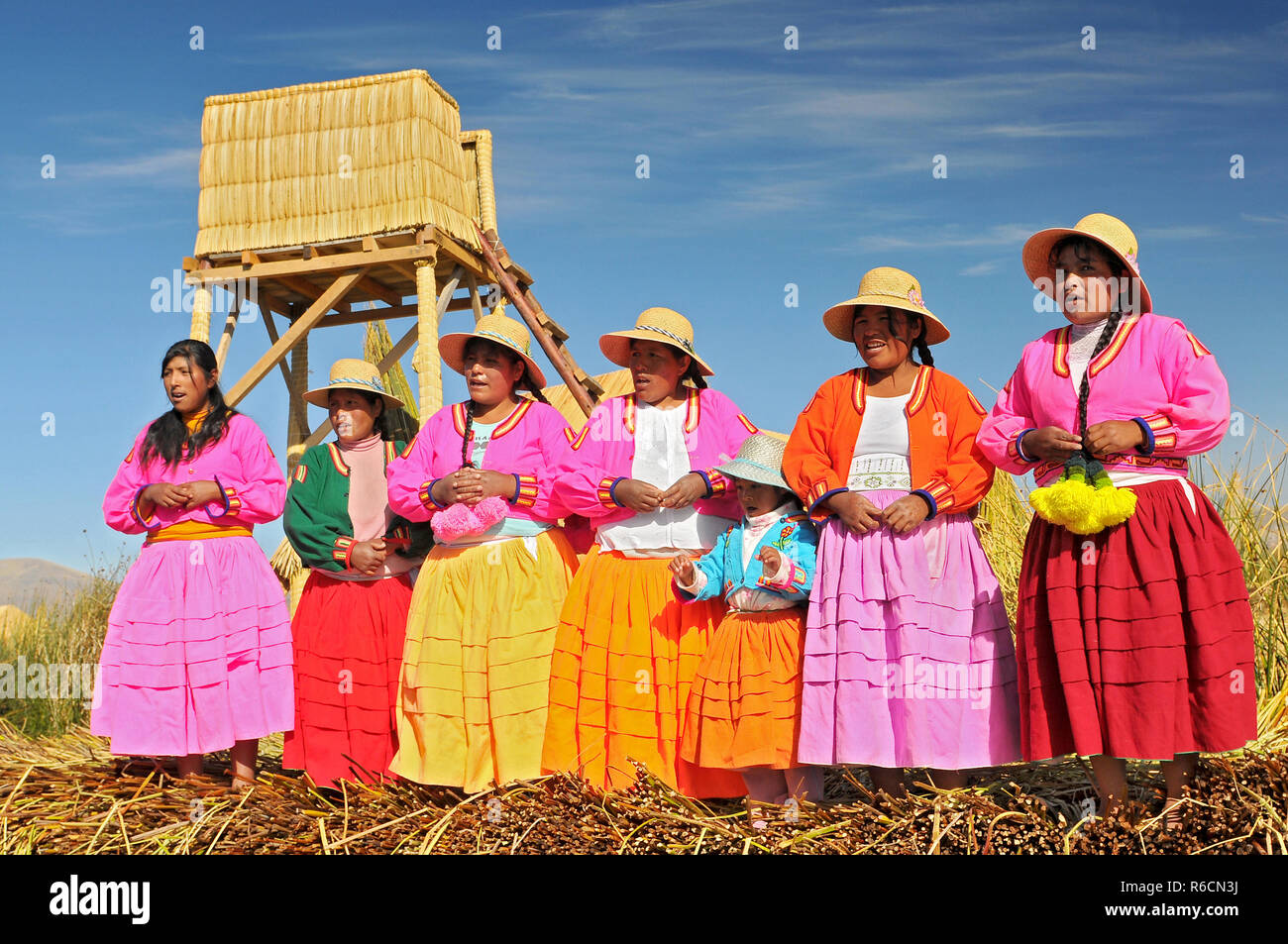 Uros Indian On Floating Island Titicaca Lake, Peru, South America - Stock Image
