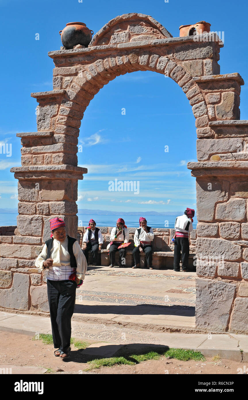 Peru, Lake Titicaca, Taquilie Island, Arch Entrance Of An Island - Stock Image