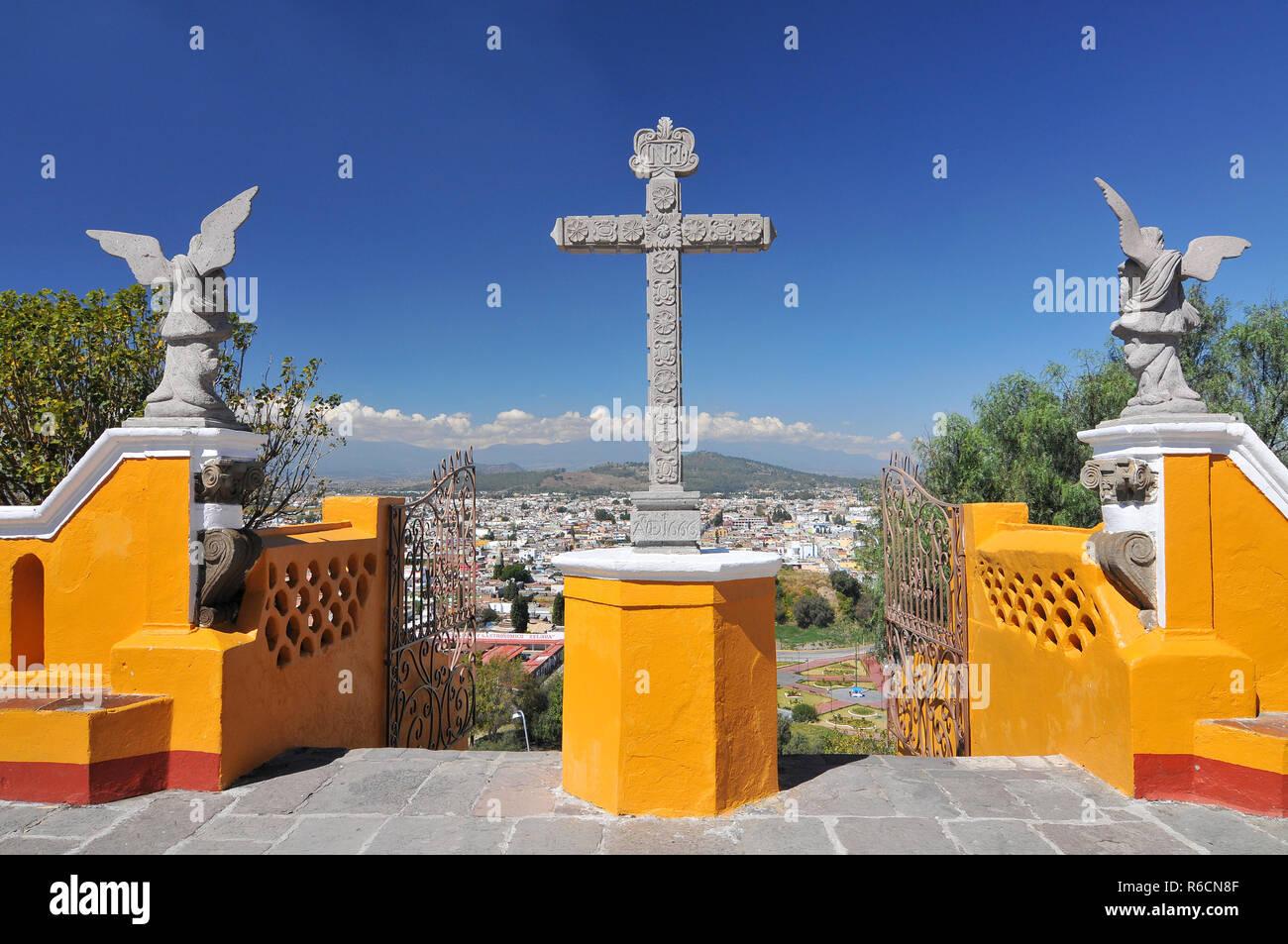 Nuestra Senora De Los Remedios, The Church Located On Top Of The Cholula Pyramid In Mexico Stock Photo