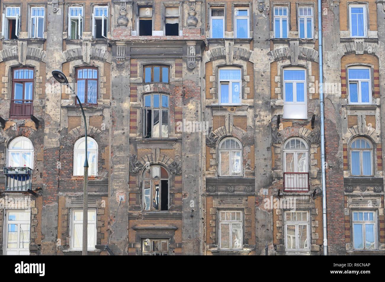 Old Building In The Praga District, Warsaw, Poland - Stock Image