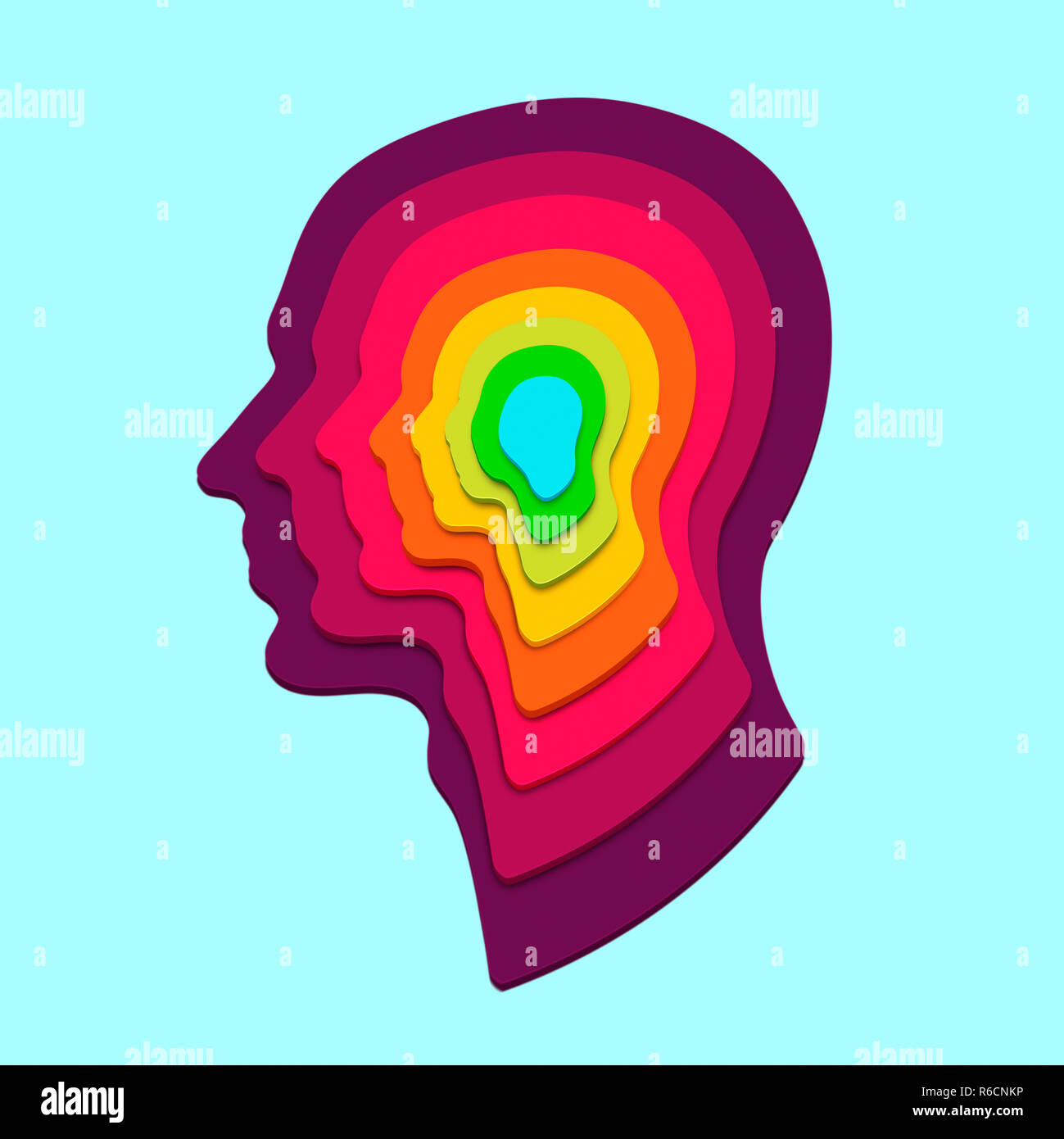 Concentric human profile shapes in rainbow colours on a pale blue background - Stock Image