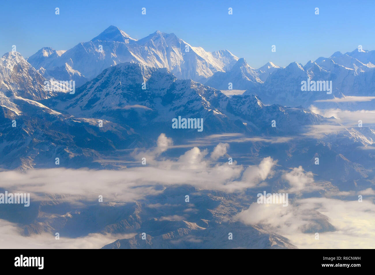 Wonderful Aerial Views In Nepal Fly Over To Mountain Everest Himalaya Stock Photo